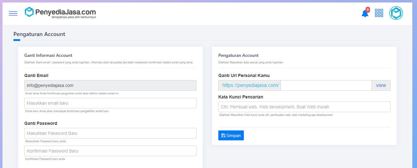 Form Pengaturan Account